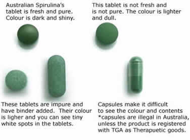 Visual comparison of spirulina tablets